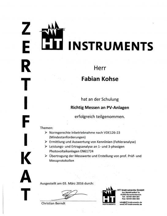 HT Instruments Zertifikat