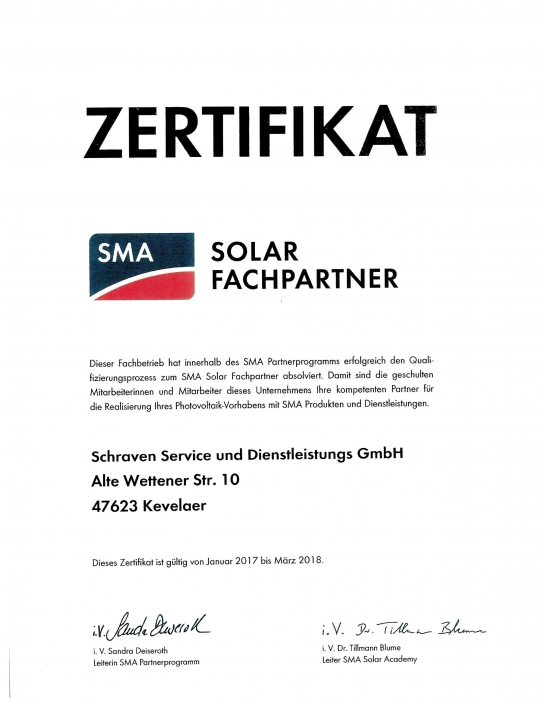 SMA Zertifikat