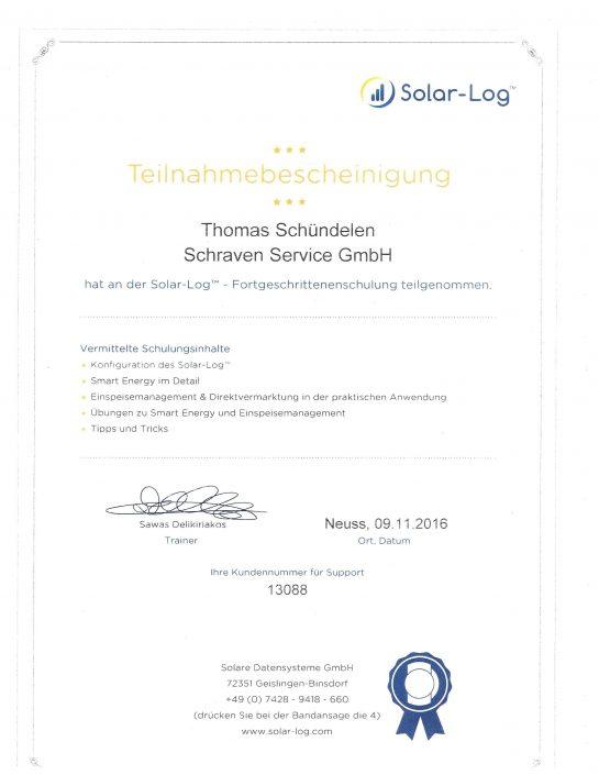 Solar Log Teilnahmebescheinigung