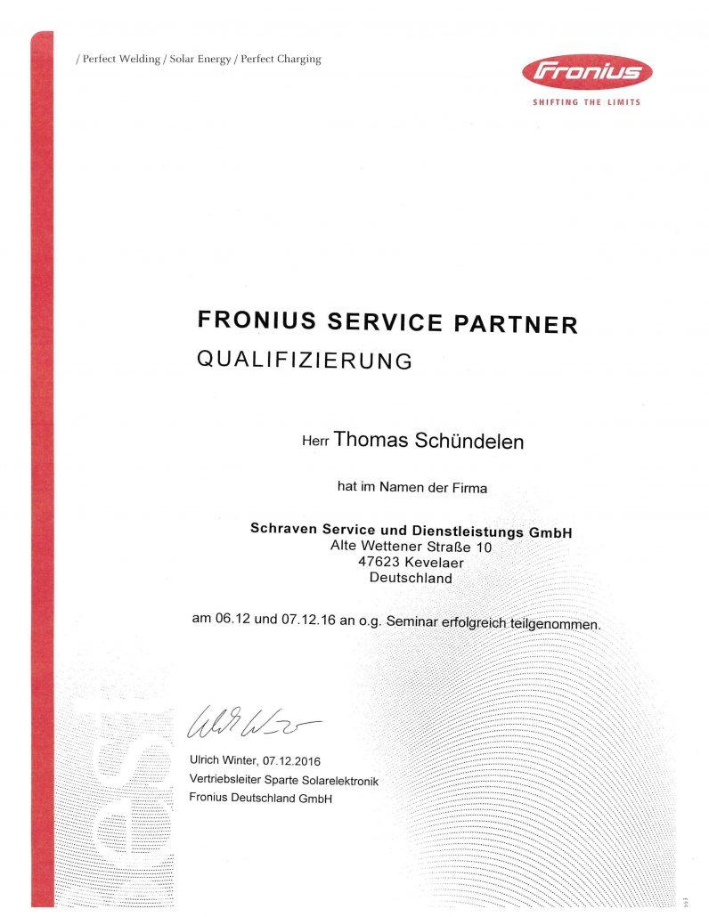 Fronius Zertifikat