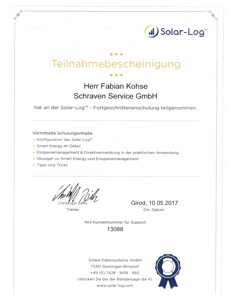 Solar-Log Zertifikat