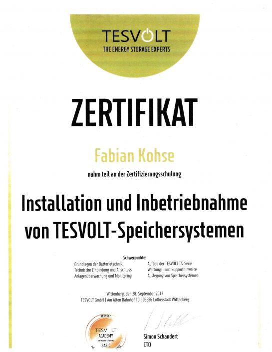 Tesvolt Zertifikat